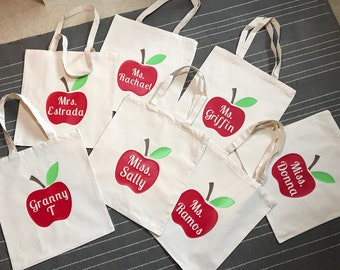 Personalized Teacher Tote Bag /  Teacher Book Bag / Teacher Gift / Teacher's Appreciation Week / Apple Tote Bag / Personalized