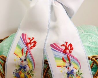 Beaded hand-embroidered ribbon for Easter basket bow band knot decorative Easter bunny rainbow Easter accessory Ukrainian embroidery Ukraine