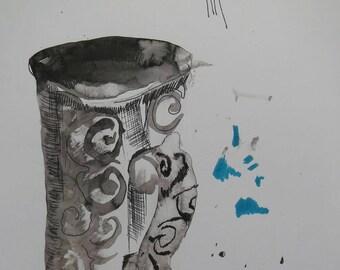 The cup, drawing, ink pen watercolour felt-tip pen on paper,  21X30 cm