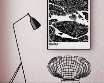 Stockholm Map / Swedish Poser / Map Print / Travel Poster / Scandinavian Art