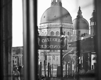 "Black and white travel photography. Digital file  Printable art. 300 dpi 24x36 and 8x12 ""Alternate View of a Venetian Basilica"""