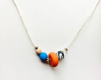 The Abstract 2 - Polymer Clay Necklace, Beaded Necklace, Gift for women, Marble necklace, Multi-color Necklace