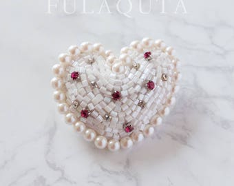 Of the pure heart bead embroidered brooch