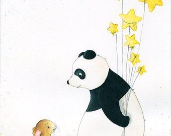 the encounter, illustration, original, panda, mouse, art for children, children's room décor, painting, art print, watercolour