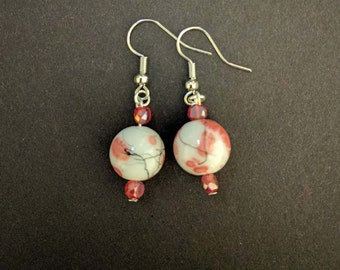 Simple Pink Cherry Blossom Design Drop Earrings
