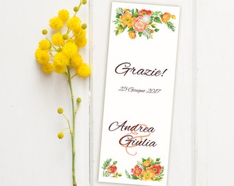 Placeholder wedding. Bookmark thank you wedding. Red and orange flowers with floral details, placeholder with Ribbon or without.