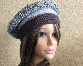 Grey Beret, Free Shipping, Gray Crochet Tam,  Textured Beret, Fall or Winter Fashion Hat,  Ladies Hat, Boho Trendy Beanie Ready To Ship,
