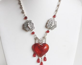 Red Bleeding Heart Necklace, Large Art Glass Pendant, Dangling Drops of Red Glass, Sterling Silver Chain, Handmade and One of a Kind