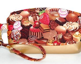 Chocolate Truffles Wristlet Purse - Fabric Clutch, Key Fob Purse, Chocolate Candy, Foodie Gift, Womens Travel Bag, Vegan Leather, Makeup Bag