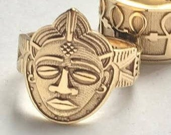 Wide Band,African Mask Ring, MADE-TO- ORDER, Men or Women