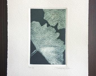 Original Art Print Etching on Cotton Paper - Ginko III