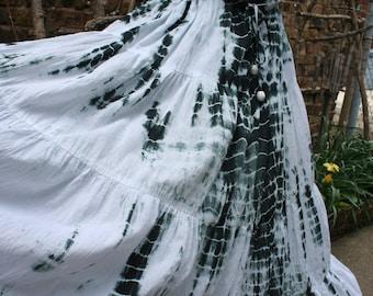 Dark green and white tie dye hippie tank top dress peasant boho XL