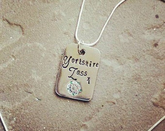 Hand Stamped Pewter Pendant Necklace - Yorkshire - Gift for Her - Jewellery - Personalised - Personalize