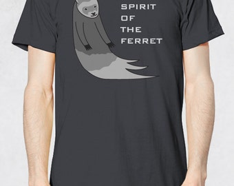 Men's Tee - Spirit Of The Ferret Shirt - Sizes XS-S-M-L-XL-2XL-3XL - Guys Ferrets Small Animal Pet Graphic Ghost Phantom Memorial Tshirt