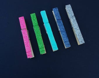 6 Glitered Clothes Pins, Your Choice of Colors! Clothes Pins- Bag Clips- Photo Clips-Glitter accessories