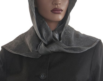 Steely Grey Hood Wrap Scarf Head Hoodie Faux Silk Polyester Head Hood Womens Hood Wrap Hood Handmade