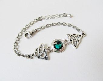 Celtic Knot Bracelet Swarovski Crystal Women's Bracelet Celtic Jewelry May Birthstone Jewelry Emerald Green