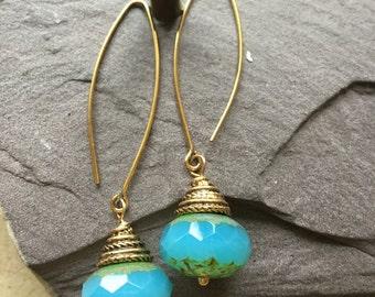 Opal Blue Faceted Czech Glass Drop Earrings
