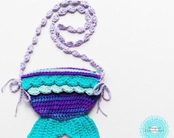 Purple Turquoise Mermaid Tail Zipper Bag - crochet colorful kawaii fish baby kid little girl pretend play purse treasure holder hunt pouch