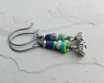 Jewel Colorstack Gemstone and Sterling Flower Dangle Earrings--Rich Cool Shades--Artisan Earrings