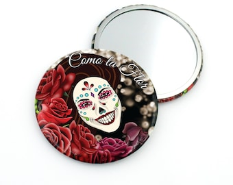 SALE Regularily 5.95 - Como la Flor Pocket Mirror - Selena Quintanilla - Valentine's Gift - Dia de Muertos - Day of the Dead Sugar Skull