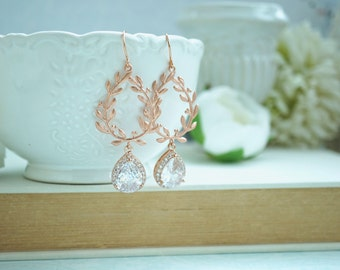 Rose Gold Laurel Wreath Earrings Lux Cubic Zirconia Earrings Rose Gold CZ Dangle Earrings Wedding Earrings Bridal Earrings, Bridesmaids Gift