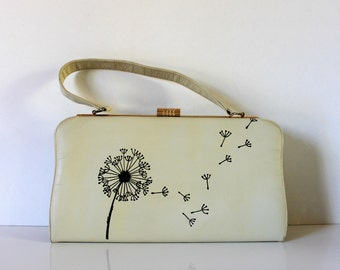 VINTAGE cream purse with hand painted dandelion /vintage purse / vintage prom purse / vintage wedding purse / painted purse / dandelion