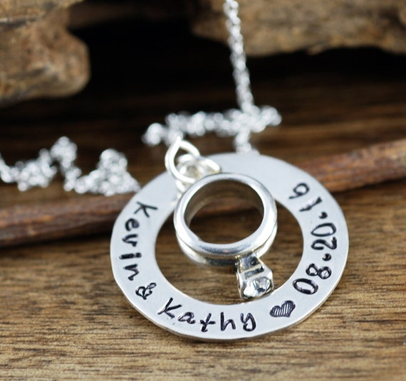 Anniversary Necklace, Engagement Ring Necklace, Gift for Wedding, Gift for Bride, Wedding GIft, Date Necklace, Our Special Date