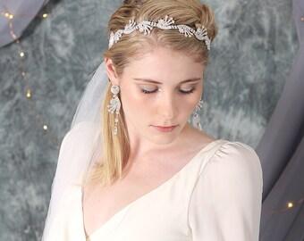 Aster Bohemian Bridal Headpiece, Bridal Headband Veil, Modern Wedding Veil, Bridal Veil, Crystal Headband with Tulle Veil, Wedding Headpiece