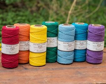 Rainbow Hemp Cord, 7 Spools,    1mm  Macrame Cord, Hemp String, 7 Rainbow Colors