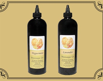 PEPPERMINT or LAVENDER Massage Oil, 16oz Black Bottle, Contains Coconut and Jojoba and Olive Oil, Contains Vitamins E and A