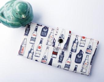 Women's wallet, beer gift, funny gift, cute wallet, wallet for women, thin wallet, checkbook wallet, craft beer gift, credit card organizer