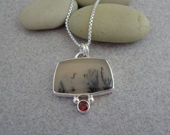Dendritic Agate and Red Garnet Pendant in Sterling Silver, Translucent Stone, Faceted Garnet