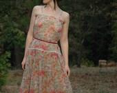 1970s Sheer Floral Boho Dream Dress... Gunner Sax Inspired... 70s Romantic Dress
