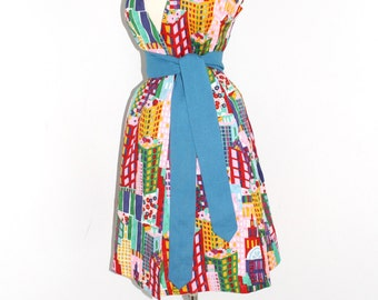 LANVIN Vintage Dress MOD Cotton Wrap  - DEADSTOCK -