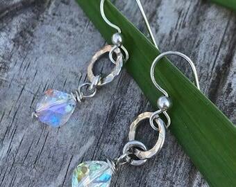 Shimmer Crystal Dangle Earrings