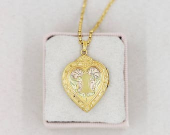 Gold Filled Heart Locket Necklace, Keyhole and Flower Engraved Vintage Pendant with Original Chain - Key to My Heart