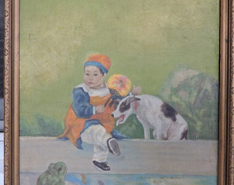 Vintage ART DECO Hobbyist Chinese Girl & DOG Pond Frog Oil Painting Framed c1930s