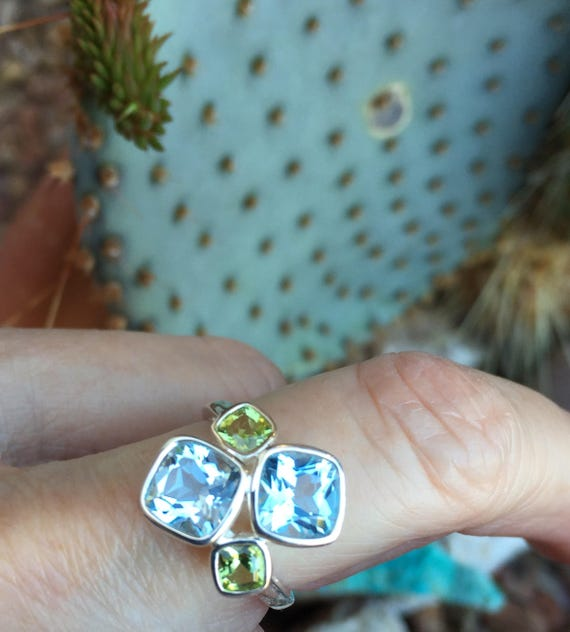 Swiss Topaz and Peridot Ring Sterling Silver