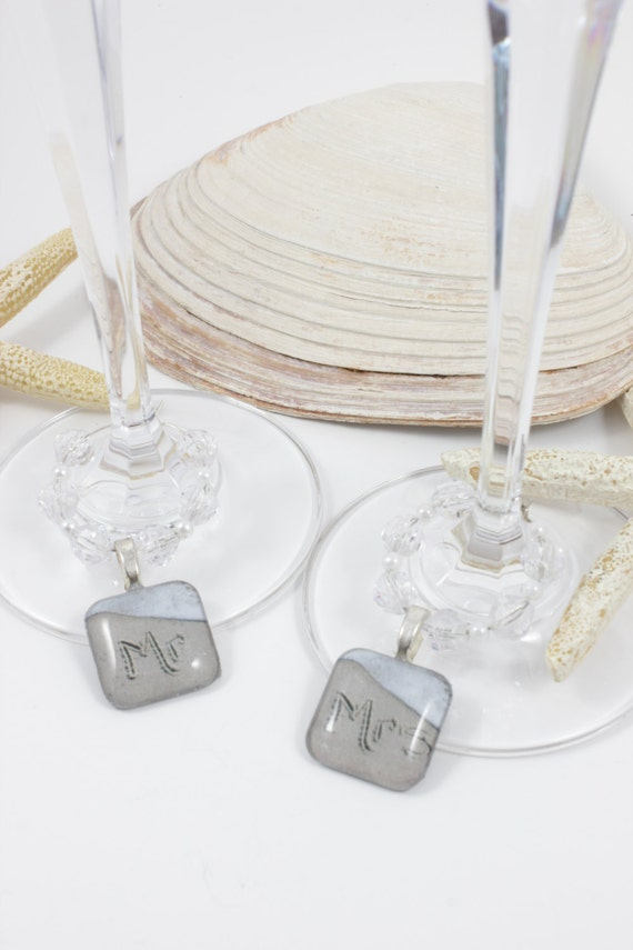 Mr and Mrs Beach Writing Wine Charms Bride and Groom Wedding