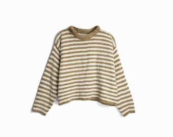 Vintage 90s Chenille Sweater in Latte Stripe / 90s Rolled Neck Sweater - women's medium