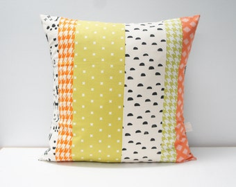 Patchwork Pillow Cover, 20x20, orange, green and black