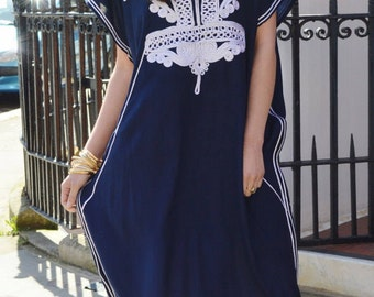Navy Blue with Silver Boho Marrakech Resort Caftan Kaftan -beach wear, resortwear,loungewear,maximbirthdays, honeymoon, maternity gifts