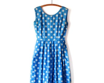 Vintage 1960s Blue Cotton Polkadot Dress with POCKETS!  |  Size Medium / Large