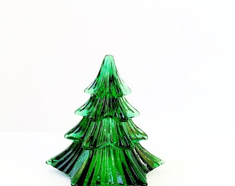 "Green Glass Christmas Tree Figurine Vintage Glass Art Fir Tree 4 1/2"" Tall Christmas Decor Holiday Decorations Noel Pine Tree Paperweight"