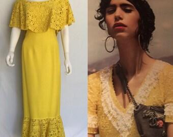 Vintage Mr. Blackwell Custom Neon Yellow Sheath Style Silk Linen Maxi Dress