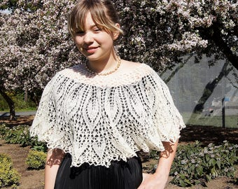 Crocheted Lace White Wool Capelet