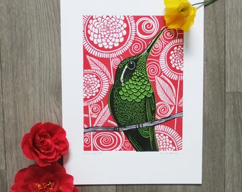 Hummingbird, Original Linocut Print, Signed Open Edition, Free Postage in UK, Hand Pulled, Printmaking,