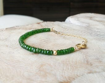 Gold Chrome Diopside Bracelet with CZ Charm