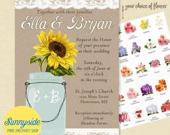 Mason jar wedding invitations // kraft burlap lace diy printable invites // barn, country or rustic wedding // you choose flower!
